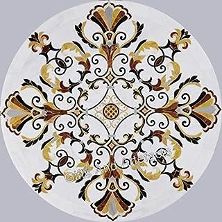 Table de salle à manger 76,2 cm en marbre blanc avec mosaïque en pierre semi-précieuse