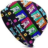Gorro de Punto para Adultos Bulldogs Rainbow Hearts Corazones de Hueso San Valentín Actualización Divertida Hip Hop Gorro de esquí de Punto cálido Gorro Gorro para Hombres Mujeres