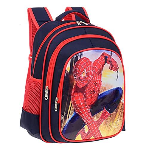 Hflyy Mochilas Escolares Niños Mochilas Superhéroe Spiderman Niños Mochilas Vengadores Impresión 3D Mochilas Viaje Informales Mochila Picnic Niños Al Aire Libre Mochila Impermeable,Red-27 * 13 * 34cm