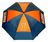 "Team Golf NCAA Illinois Fighting Illini 62"" Golf Umbrella with Protective Sheath, Double Canopy Wind Protection Design, Auto Open Button"