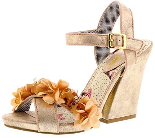 Ruby Shoo Ellen Champagne Womens Hi Heels Sandals