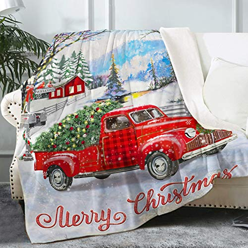"Bonsai Tree Christmas Blanket, Vintage Red Truck Fuzzy Soft Flannel Throw Blanket for Women, Christmas Snowman Tree Buffalo Plaid Winter Thick Warm Fleece Blanket for Couch Bed Living Room, 50""x60"""
