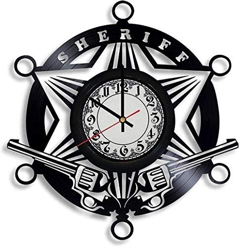 zgfeng Reloj de Pared de Vinilo de policía-Reloj de Pared de Vinilo Retro con Registro de decoración del hogar