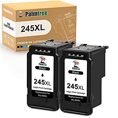 Palmtree Remanufactured 245XL Black Ink Cartridge Replacement for Canon PG-245 PG-245XL PG 245 245XL 245 XL Used in Canon PIXMA MX492 MX490 MG2920 MG2420 MG2520 MG2522 IP2820 (2 Black)