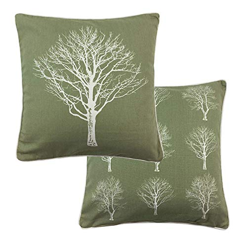 2 X FOREST TREES GREEN WHITE 100% COTTON PIPED CUSHION COVER 17' - 43CM