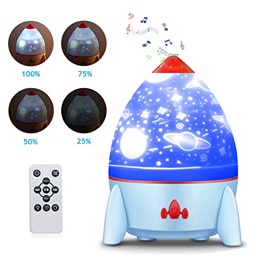 Rocket Projection Lamp, Night Light Lamp for Kids,Music,4 Slides & Dream Starry Sky Rotating Romantic Atmosphere Lamp,USB Rechargeable (Azul)