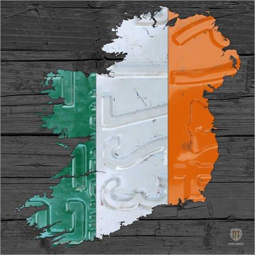 Posterlounge Acrylglasbild 40 x 40 cm: Irland Nummernschild Karte von Design Turnpike - Wandbild, Acryl Glasbild, Druck auf Acryl Glas Bild