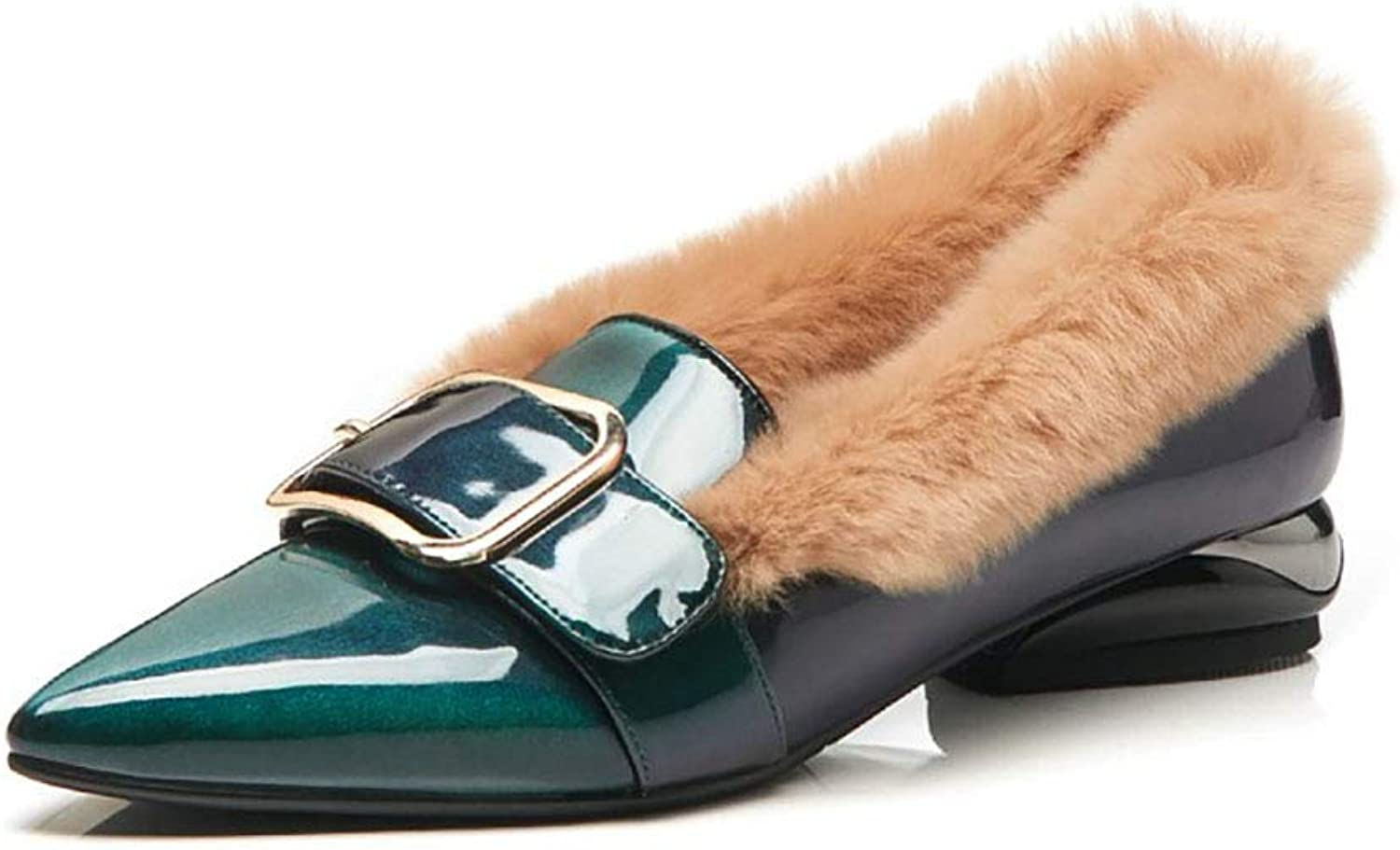 Women's Cotton shoes Pointed Patent Leather Velvet peas shoes Fleece Lined Warm Wool shoes Winter