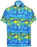 LA LEELA Casual Hawaiana Camisa para Hombre Señores Manga Corta Bolsillo Delantero Surf...