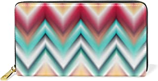 Womens New Wave Boho Stripe Pattern Print Genuine Leather Long Wallet Clutch Purse with Zipper