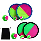 Aneco Paddle Catch Ball and Toss Game Set Disc Toss and Catch Paddle Game with 1 Storage Bag, 4 Paddles and 6 Balls (2 Big Balls and 4 Small Balls)