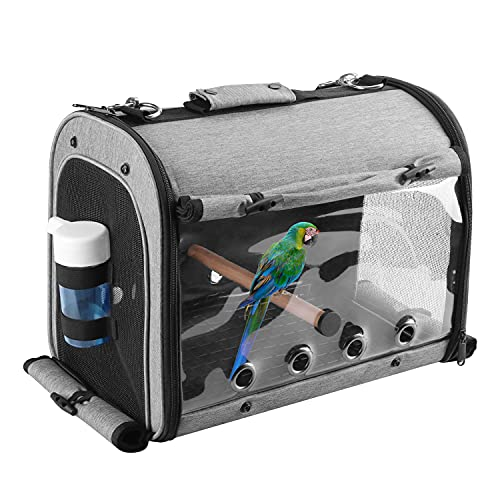 ABONERY Bird Travel Bag Portable Bird Parrot Carrier Transparent Breathable Travel Cage, Lightweight Bird Carrier with Food Bowl and Water Bottle