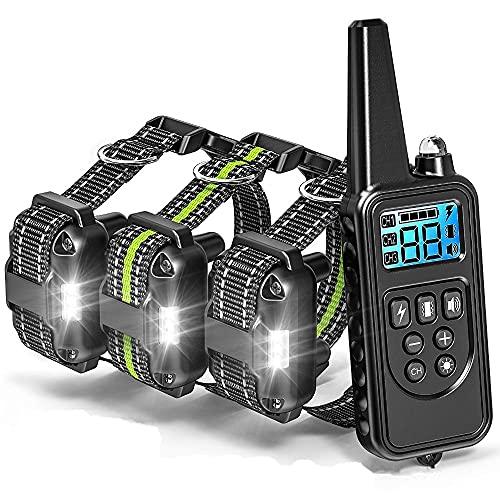 YODZKJ Collar de adiestramiento para Perros, Dispositivos de disuasión de Perros antiladridos a Distancia, Collares E para Detener los ladridos, Recargables con LCD Impermeable