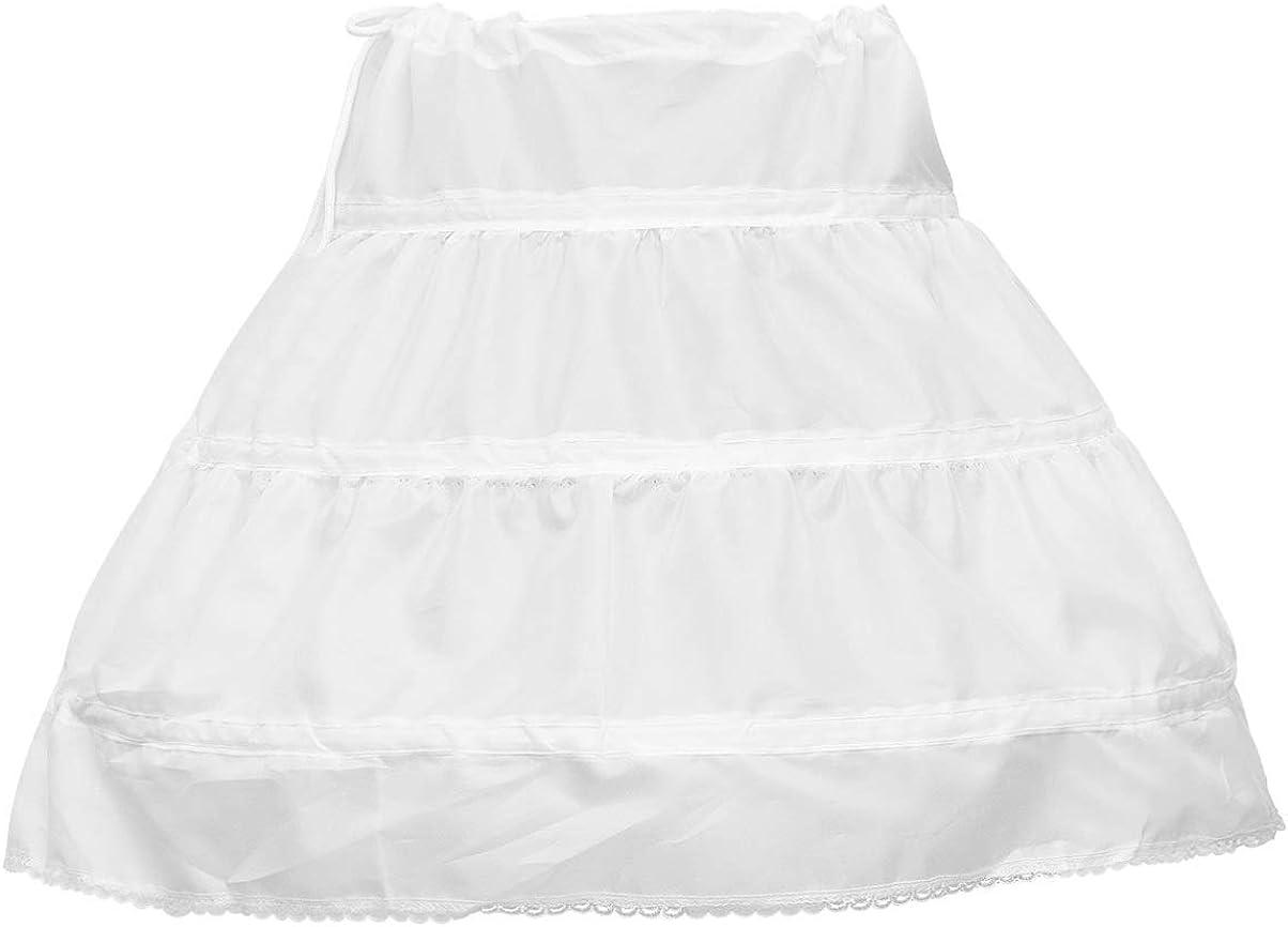 TENDYCOCO Petticoat for Girls Crinoline Skirt Half Slip Flower Girl Underskirt Slips White