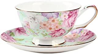 ufengke European Bone China Coffee Cup, Afternoon Tea Coffee Cup With Saucer, Ceramic Tea Sets For Gift, Hand-Painted Flower, Green