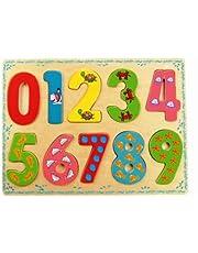 Bino 88109 pussel, träleksaker, barn från 3 år, barnleksaker (motorleksak med 10 delar, färgglada siffror från 0–9, leksaker för förskole), flerfärgad