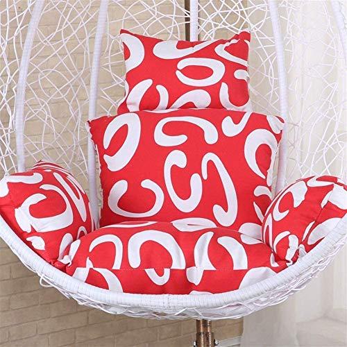 LIYT Chaise Suspendue Coussin Panier Suspendu Double Intégré Wicker Chaise Coussin Couverture arrière Amovible et Lavable Coussin Swing,Rouge