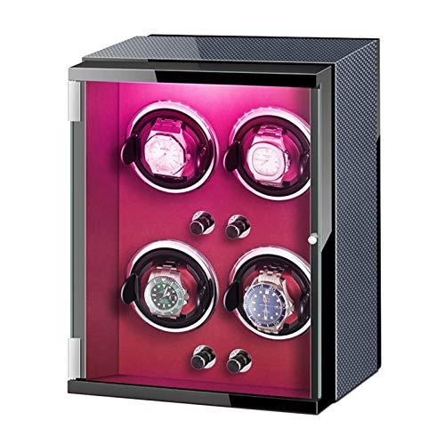 ZCYXQR Relojes y Joyas Caja enrolladora de Relojes 4 Adaptador de CA automático para Relojes y Luces de Colores alimentadas por batería Almohadas Ajustables para Relojes