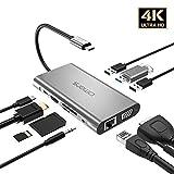 """Omars USB C ハブ 10 in 1アルミニウム PD対応 type c hub(HDMI、VGA、 USB 3.1ポート×3、SD/マイクロSDカードリーダー、LAN インターネットポート1000Mbps、3.5mm ヘッドフォンジャック、USB C Power Delivery電源供給ポート )MacBook Pro 13""""/15""""/16"""" 2019/2018/2017/2016, huawei MateBook, Google Chromebook Pixel, Samsung S8 / S9 / S10、Huawei Mate 20 / Mate 10など対応"""