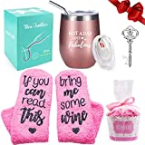 Wine Tumbler with Saying + Cupcake Wine Socks Gift Set | 12 oz Stainless Steel Double Insulated Stemless Wine Glass with Lid and Straw + Key Bottle Opener, Funny Wine Gift for Women (Rose Gold)