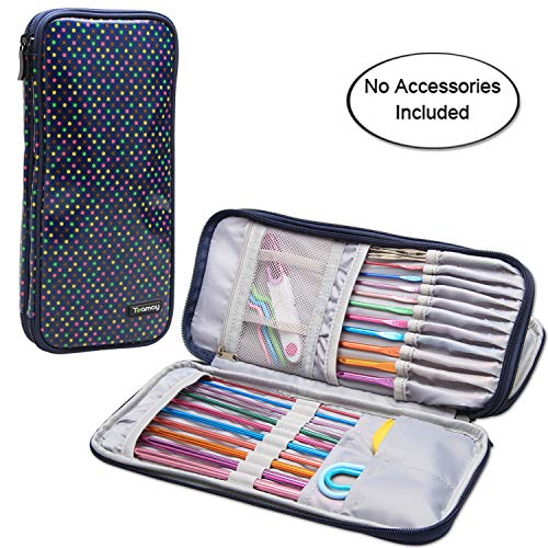 """Teamoy Tunisian Crochet Hook Case(up to 11"""" long), Travel Organizer Bag for Afghan Crochet Hooks, Ergonomic Crochet Hooks, Knitting Needles and Accessories, Well Made, Large Capacity, , Colorful Dots"""