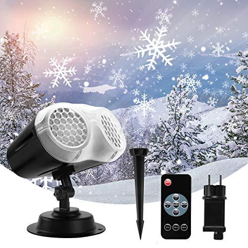 Projecteur de Neige Extérieur et Intérieur, FOCHEA Projecteur Lumières de Noël Halloween IP65 Étanche avec Télécommande, Projecteur à Angle de Projection Réglable pour Halloween, Noël, Fête
