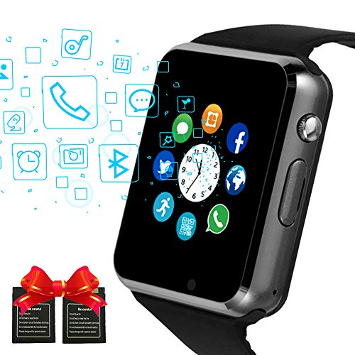 Bluetooth Smart Watches Touchscreen mit SIM-Karten-Slot, Smartwatch kompatibel mit Android-Handys und IOS Phone Smart-Armbanduhr für Männer Frauen Kids (schwarz)
