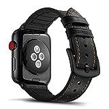 Tasikar per Cinturino Apple Watch 38mm 40mm Design in Pelle e Silicone Compatibile con Apple Watch Serie 5 Serie 4 Serie 3 Serie 2 Serie 1 (Nero)