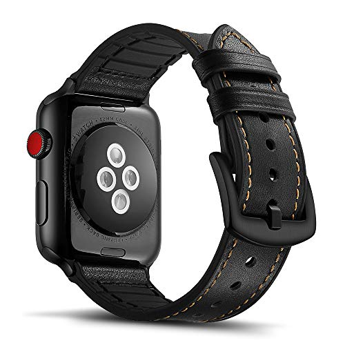 Tasikar para Correa Apple Watch 38mm 40mm Diseño de Cuero y Silicona Compatible con Apple Watch Series 5 Series 4 (40mm) Series 3 Series 2 Series 1 (38mm) - Negro