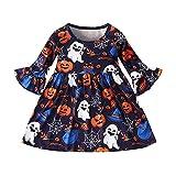 Pistaz Vestido de bebé para Halloween, calabaza, espíritu de telaraña, estampado de hojas de loto, mangas redondas, algodón, vestido de princesa, multicolor, 6-12 Meses