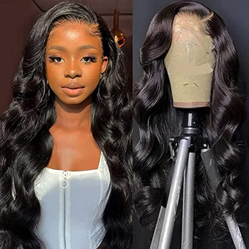 UNice Hair Body Wave Lace Front Human Hair Wigs, Unprocessed Brazilian Virgin Human Hair 13X4 Lace Frontal Wig Pre Plucked with Baby Hair 150% Density (20 Inch)