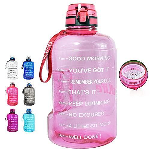 1.3L 2.2L 3.78L Borraccia con coperchio a ribalta chiudibile Bottiglie per esterni Fitness Sport BPA Brocca di grande capacità-2.2l, rosa