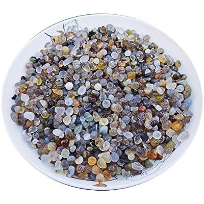 SACKORANGE 2 Pounds Marine Agate Tumbled Chips Stone Crushed Crystal Quartz Irregular Shaped Stones for Home Decorative Stones Vases Plants Succulents Cactus (Marine Agate)