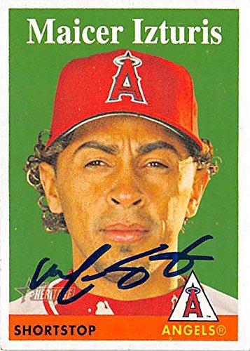 Maicer Izturis autographed baseball card (Anaheim Angels) 2007 Topps Heritage #325