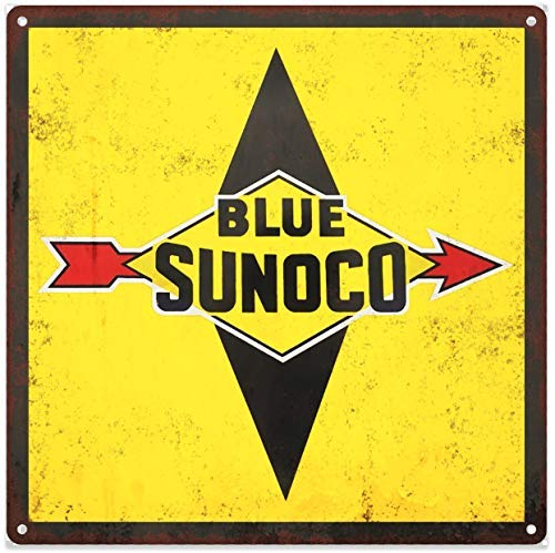 Rebecca Simpson Blue Sunco Gas Gasoline Garage Shop Mancave Metal Sign Repro 12x12