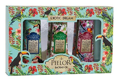 PIELOR Exotic Dream Handcreme Geschenkset mit Baobab Öl 3 x 30 ml