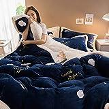 yaonuli Verdicken Sie Milch Samt vierteilige warme Lamm Kaschmir vierteilige Samt Bettwäsche Bettbezug Wolke 1,5 m Bett - 1,8 m Bett (Bettbezug 200 * 230 cm)