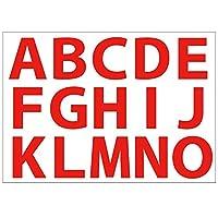 [ABポスター] A4サイズ 切り文字カッティングシート 貼り文字 ガラス文字 装飾文字 アルファベットシール (赤文字:A~O, 6cm・212pt)