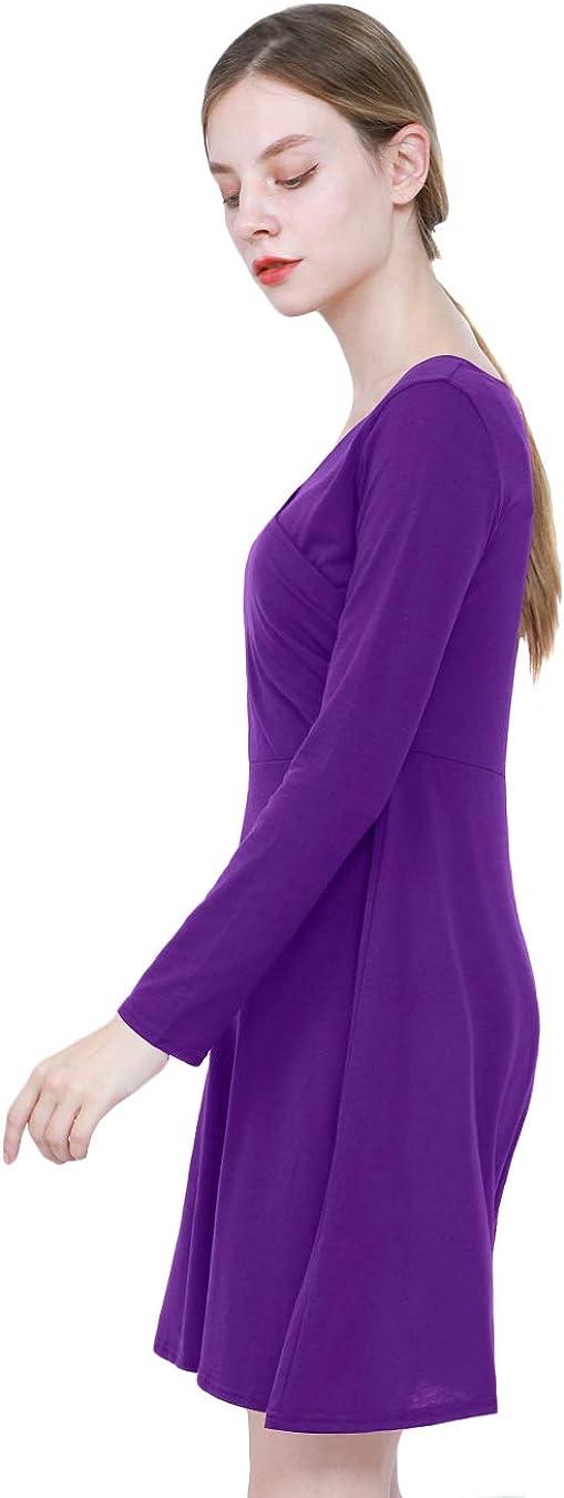 EFOFEI Womens Wrap V Neck Long Sleeve Casual Floral Print Swing A Line Midi Dress