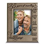 25 Years of Marriage- 25th Anniversary Gift for Wife, Husband, Couple- Engraved Leather Picture Frame (5 x 7 Vertical)