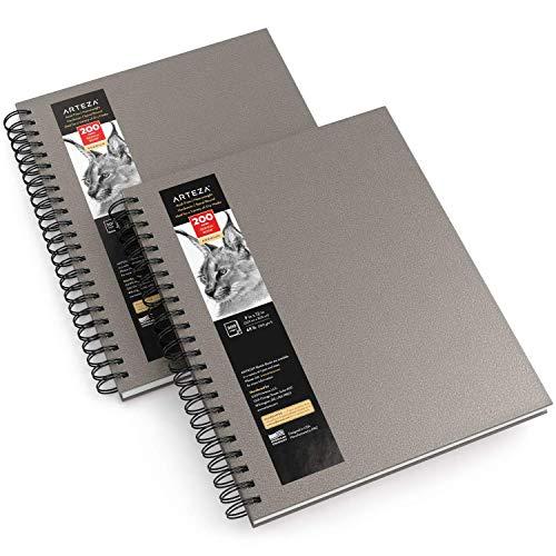 Arteza Skizzenbuch mit Spiralbindung 2er-Pack je 100 Blatt, 22.9 x 30.5 cm, Skizzenblock in Grau, 100 gsm, Hardcover-Sketchbook für Bleistifte, Kohle, Kugelschreiber, Wachsmalstifte