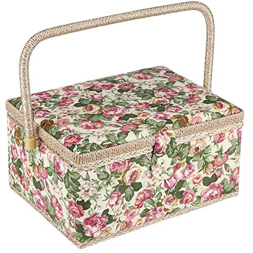 Large Sewing Basket with Accessories, Sewing Organizer Box for Sewing Supplies and DIY Crafting Tools Storage, Sewing Kit Tools for Sewing Mending