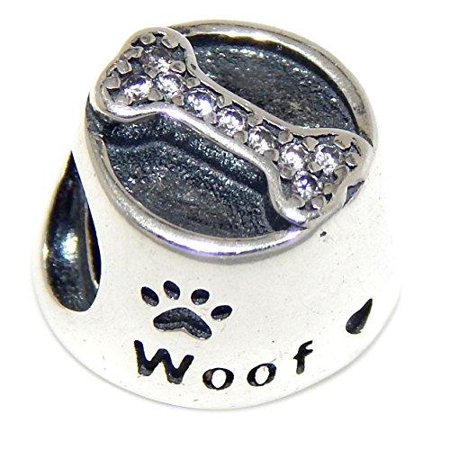 Pro joyería 925sólido Plata de Ley cuenco de la comida del perro con hueso cuenta para pulsera de cristal transparente