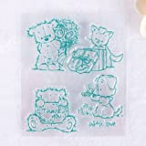 zhuotop Cute Blue Bear Bild DIY Große transparent Gummi Stempel Seal DIY Craft Scrapbooking Decor -