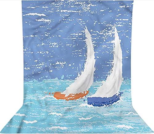 Sfondo fotografico da 1,8 x 2,7 m, motivo: barche a vela grunge con decorazioni oceaniche in microfibra, schermo pieghevole ad alta densità per compleanni, matrimoni, feste a tema