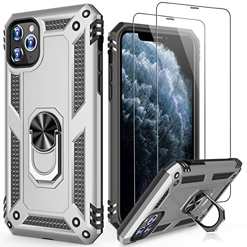 LUMARKE iPhone 11 Case with Tempered Glass Sreen Protector,Pass 16ft Drop Test Military Grade Heavy Duty Cover with Magnetic Kickstand,Protective Phone Case for iPhone 11 6.1
