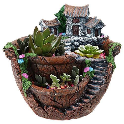 Qagazine Übertopf Blumentöpfe Feengarten-Topf mit süßem Haus, einzigartiges Design für Heimdekoration