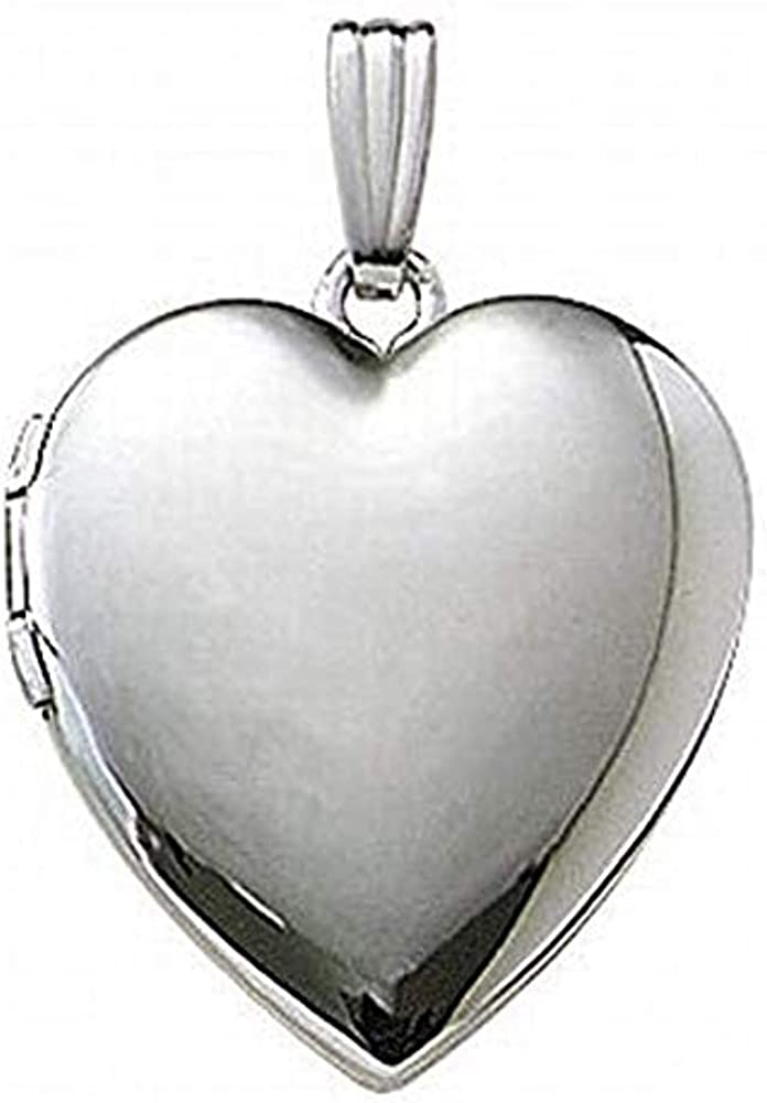 PicturesOnGold.com 14k White Gold Heart Locket - 1 Inch X 1 Inch in Solid 14K White Gold with Engraving