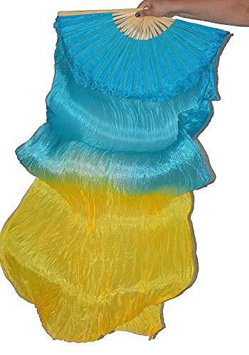 Tanzbekleidung & Accessories Schleierfächer Tanz Fächer Fächerschleier Seidenfächer Flügel Bauchtanz 1 Paar Türkis-Gelb