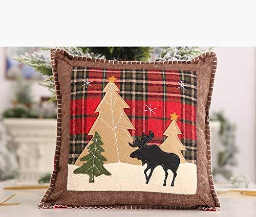 Federa decorativa natalizia per cuscino, in cotone e lino
